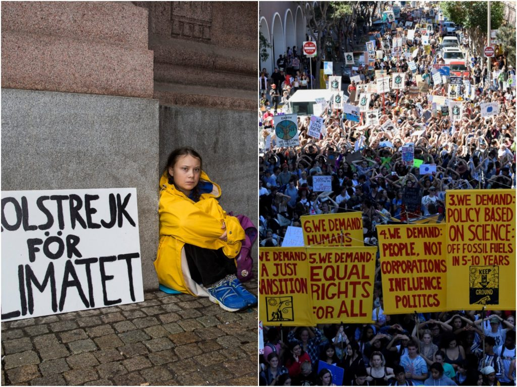 2 striking photos taken just over a year apart show how Greta Thunberg's climate strike inspired millions
